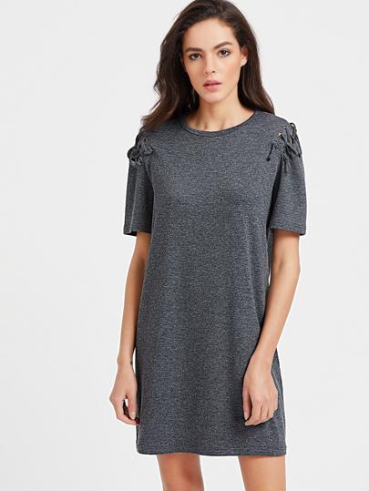 Marled Knit Lace Up Sleeve Tee Dress