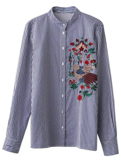 Vertical Pinstripe Embroidered Band Collar Blouse