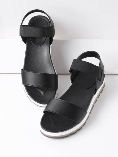 Black Contrast Sole Flatform Sandals