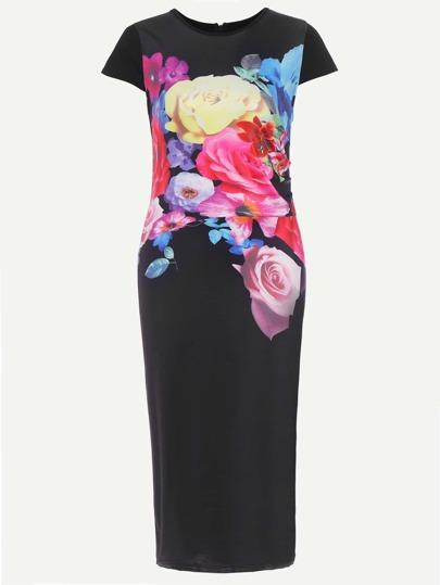 Floral Print Zipper Back Dress