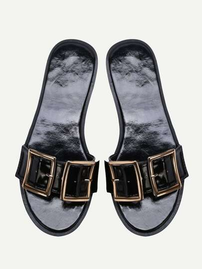 Black Open Toe Patent Leather Flat Slippers
