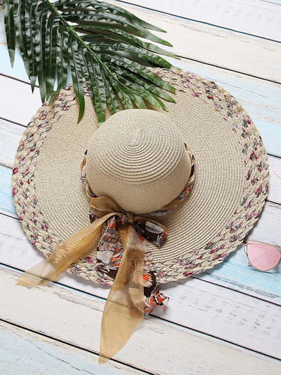 Beige Textured Wide Brim Sunhat With Bow Tie