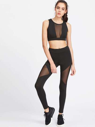 Black Sheer Mesh Insert Ernte Tank Top mit Leggings