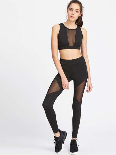 Top corto de malla transparente con leggings - negro
