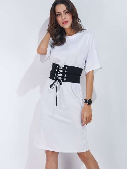 White Dolman Sleeve Tee Dress With Obi