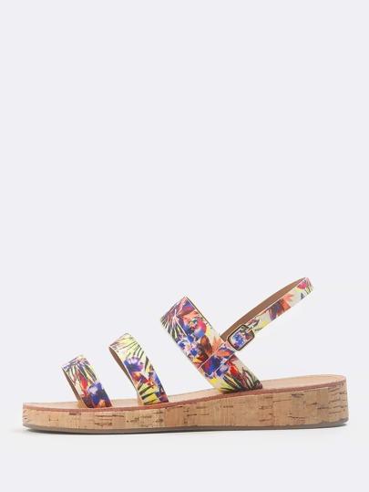Triple Strap Floral Sandals MULTI