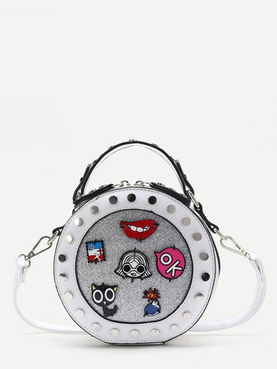 crossbody sac blanc détails cloutés trim patch