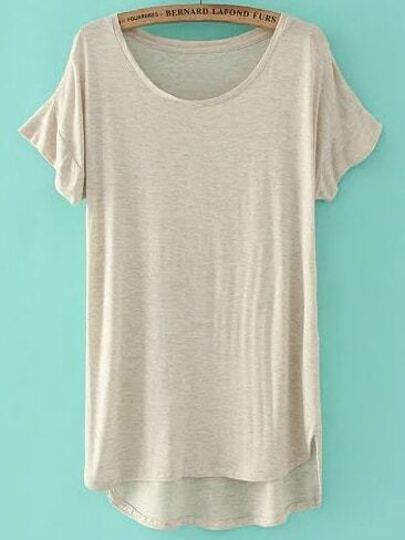 Apricot Short Sleeve High Low T-shirt