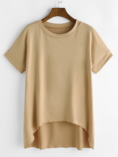 Бежевая модная асимметричная футболка