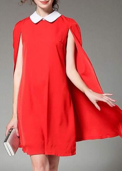 Red Lapel Elegance Cape Dress