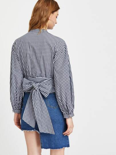 Gingham Hidden Button Bishop Sleeve Belted Blouse