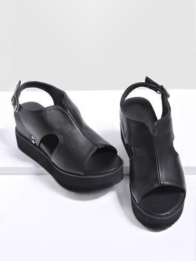 Schwarze Peep Toe Sling Back Flatform Sandalen