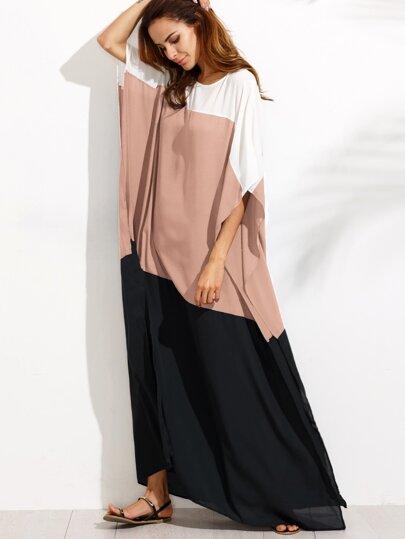 Vestido de gasa con abertura lateral de color combinado