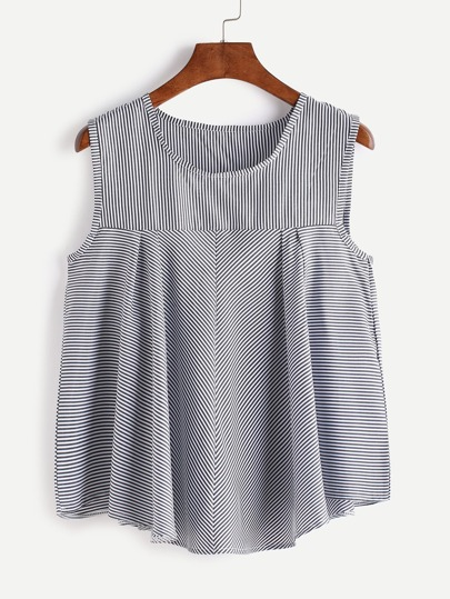 Pinstripes Pleated Vest Top