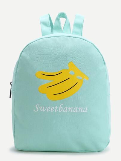 Green Banana Print Canvas Backpack