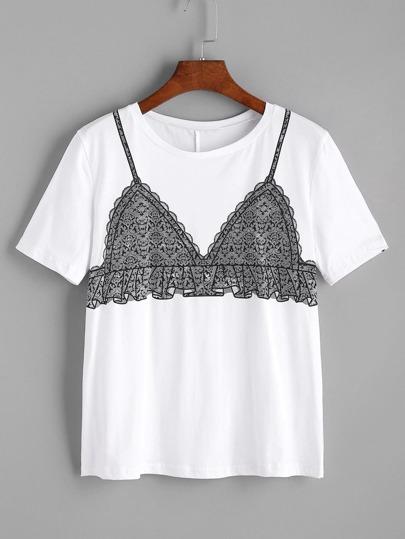 T-shirt imprimé soutien-gorge blanc