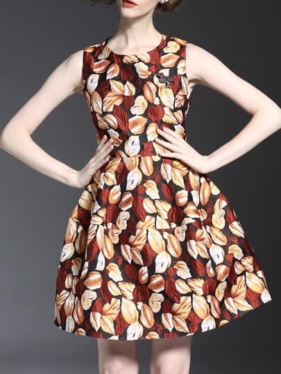 A-Linie Kleid mit Beads und Blattjacquard - multifarbe