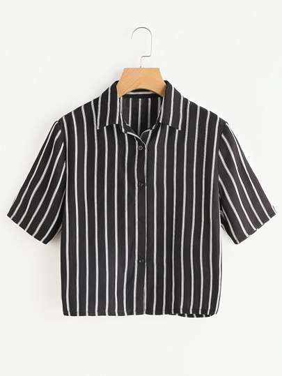 Black Striped Short Sleeve Shirt