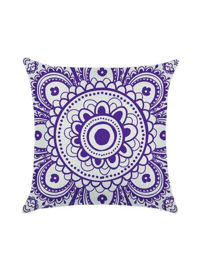 Purple Flower Print Pillowcase Cover