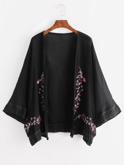 Kimono con bordado de flor ribete con flecos - negro