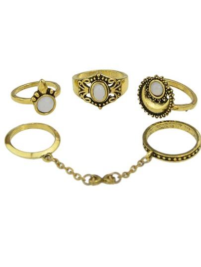 Sets de anillos retros de metal-dorado