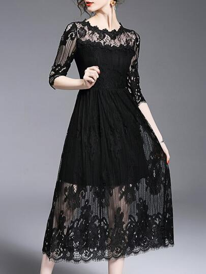 Black Sheer Lace Long Sexy Dress