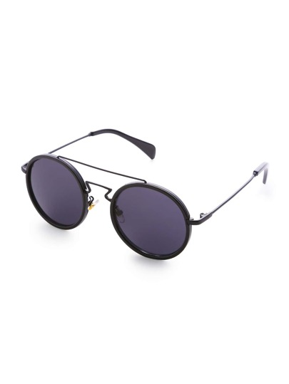 Black Frame Double Bridge Runde Sonnenbrille