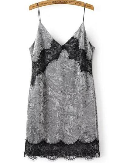 Grey Spaghetti Strap Contrast Lace Velvet Dress