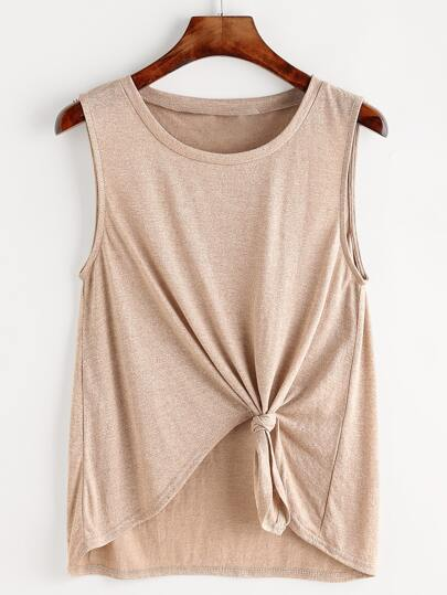 Marled Knot Front High Low Tank Top