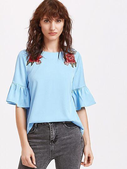 Top avec le patch rose à froufrous manches dos avec ouverture - bleu