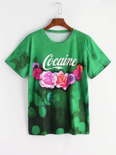 Green Letter And Floral Print T-shirt