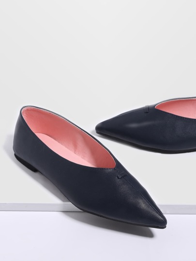 Navy Point Toe PU Flats