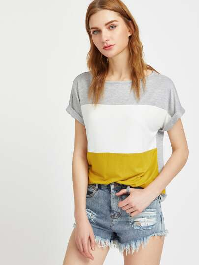 Camiseta de mangas remangadas - color block