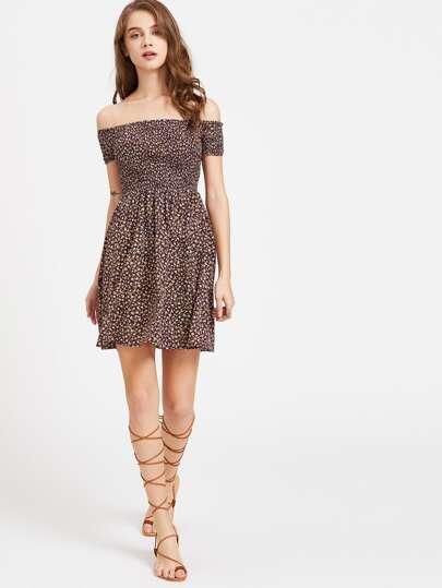 Calico Print Smocked Bardot Dress