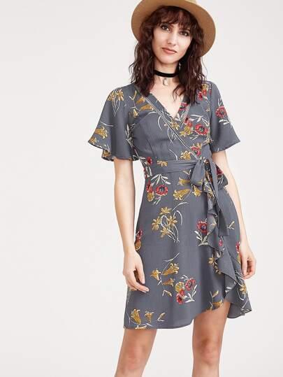 Grey Flower Print Flutter Sleeve Surplice Wrap Dress