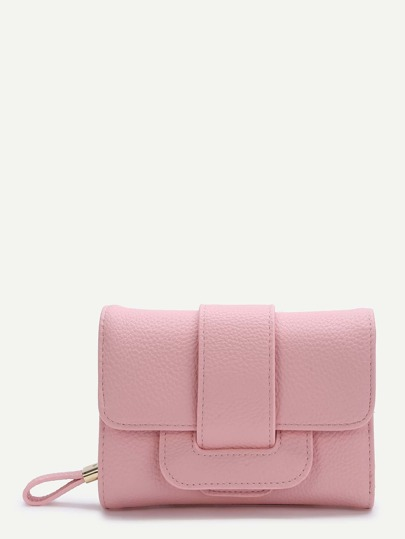 Pink Fold PU Clutch Wallet