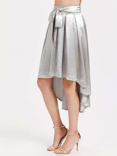 Bow Tie Dip Hem Pleated Metallic Skirt