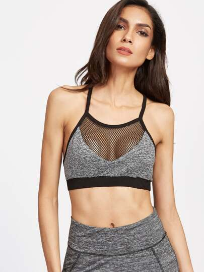 Marled Knit Fishnet Insert Sports Bra