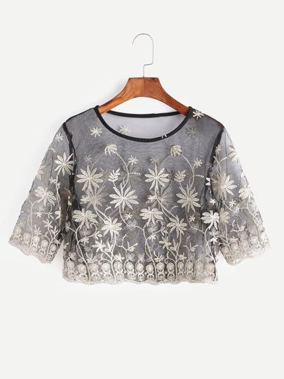 Black Flower Embroidered Sheer Mesh Crop Top