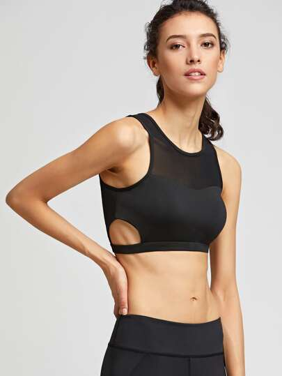 Mesh Insert Cut Out Side Crop Tank Top