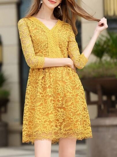 Yellow V Neck Lace A-Line Dress
