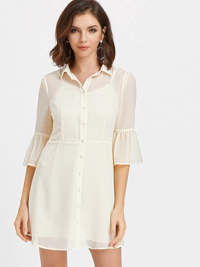 Flute Sleeve Semi Sheer Fit And Flare Shirt Dress