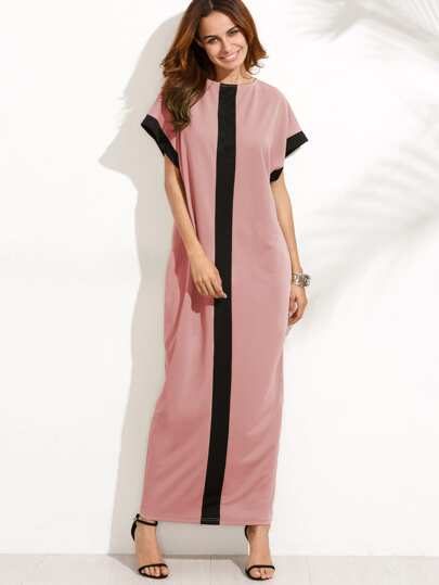 Contrast Panel Cocoon Full Length Dress