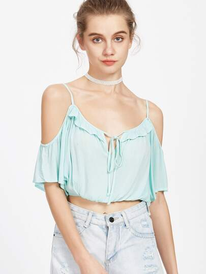 Cold Shoulder Frill Tie Front Elastic Hem Crop Top