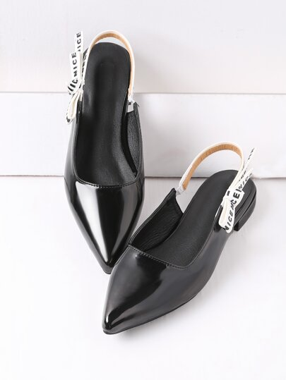 Black Point Toe Sling Zurück Lackleder Flats