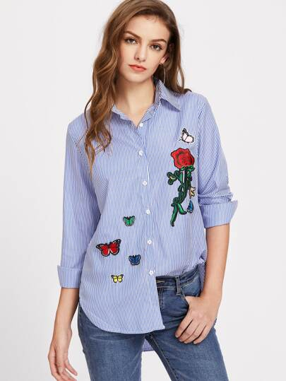 Vertical Striped Dolphin Hem Embroidery Blouse