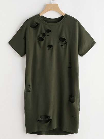 Olive Green Distressed Short Sleeve Tee Dress