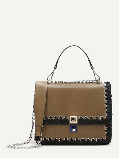 Khaki Lace Up Trim Satchel Bag With Chain