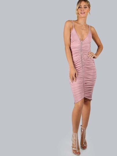 Sleeveless Ruched Zipper Dress BLUSH