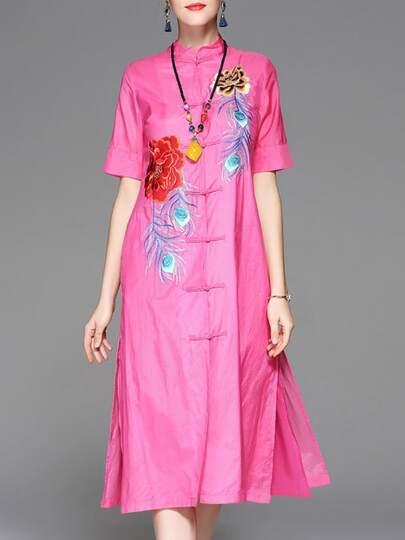Kleid mit Blumenstickereien und Spalten - rosa pink